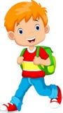 Cute schoolboy cartoon Stock Images