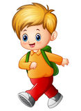 Cute schoolboy cartoon Royalty Free Stock Photo