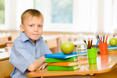 Cute schoolboy in classroom Royalty Free Stock Images