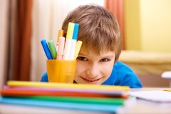 Cute schoolboy Royalty Free Stock Images