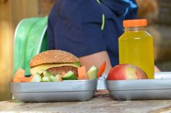 Cute schoolboy eating outdoors the school from plastick lunch boxe. Healthy school breakfast for child. Food for lunch Stock Images