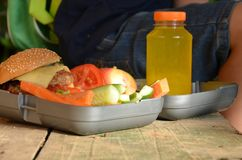 Cute schoolboy eating outdoors the school from plastick lunch boxe. Healthy school breakfast for child. Food for lunch Royalty Free Stock Image