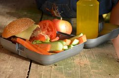 Cute schoolboy eating outdoors the school from plastick lunch boxe. Healthy school breakfast for child. Food for lunch Stock Image