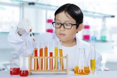 Cute schoolboy mixing chemical liquids. Portrait of a cute schoolboy mixing chemical liquids to create experiments in the laboratory Stock Photos