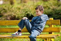 Cute schoolboy in a park Stock Images