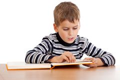 Cute schoolboy is reading a book Royalty Free Stock Photos