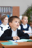 Cute schoolboy on real lesson royalty free stock photography