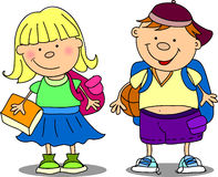 Cute schoolboy and schoolgirl, vector Stock Photo