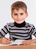 Cute schoolboy is writting Stock Photo