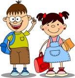 Cute schoolboys and schoolgirls, vector Stock Image