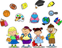 Cute schoolboys and schoolgirls, vector Stock Photo