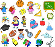 Cute schoolboys and schoolgirls,vector Stock Photography