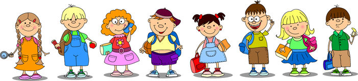 Cute schoolboys and schoolgirls vector Stock Photos