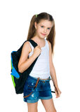 Cute schoolchild with knapsack. On white background Stock Photos
