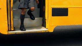 Cute schoolchildren getting off the school bus stock video