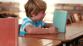 Cute schoolchildren reading and looking at globe in their classroom. In elementary school stock video