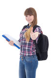Cute schoolgirl with backpack thumbs up isolated on white Royalty Free Stock Photo