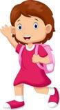 Cute schoolgirl cartoon Royalty Free Stock Image