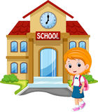 Cute schoolgirl cartoon stock illustration