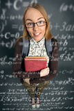Cute schoolgirl with formulas Royalty Free Stock Photos