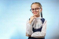 Cute Schoolgirl In Glasses Smile Implore Gesture