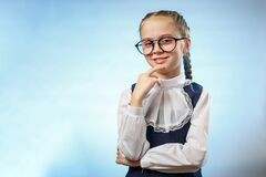 Free Cute Schoolgirl In Glasses Smile Implore Gesture Royalty Free Stock Photography - 176754967