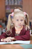 Cute Schoolgirl on real lesson stock images