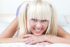 Cute schoolgirl in smiling Stock Image