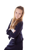 Cute schoolgirl in uniform isolated Stock Photography