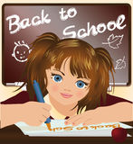 Cute schoolgirl writing Back to school. Royalty Free Stock Photos