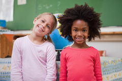 Cute schoolgirls posing. In a classroom Royalty Free Stock Image
