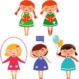 Cute schoolgirls Stock Photos