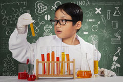 Cute scientist looking at chemical fluid Stock Photos
