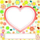Cute scrap set with flower heart and ladybug Royalty Free Stock Photography