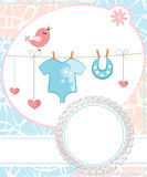 Cute scrapbook for boy with baby elements. Royalty Free Stock Photo