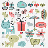 Cute scrapbook elements. Set of cute scrapbook elements royalty free illustration