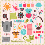 Cute scrapbook elements with animals Stock Photos