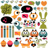 Cute scrapbook elements animals Royalty Free Stock Images