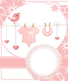 Cute scrapbook for girl with baby elements. vector illustration