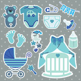 Cute scrapbooking elements for newborn baby boy Royalty Free Stock Images