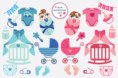 Cute scrapbooking elements for newborn baby Royalty Free Stock Photo