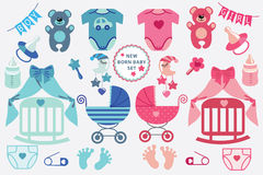 Cute scrapbooking elements for newborn baby Royalty Free Stock Images