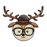 Cute scribble vintage deer face cartoon Royalty Free Stock Photography