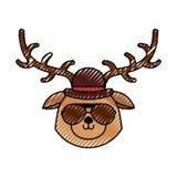 Cute scribble vintage deer face cartoon. Graphic design Stock Photo