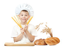Cute scullion with spaghetti hands Stock Image