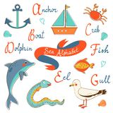 Cute sea alphabet Stock Images