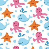 Cute sea animal seamless pattern. Vector background Stock Photo