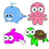 Cute Sea Animal Set Stock Photos