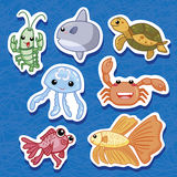 Cute sea animal stickers 03. Cute sea animal stickers, cartoon vector illustration Stock Photography