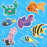 Cute sea animal stickers04 Stock Images